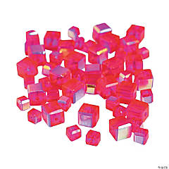 Fuchsia Cube AB Cut Crystal Beads - 4mm-6mm
