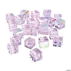 Light Pink Cube AB Cut Crystal Beads - 8mm