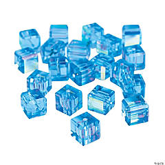 Blue Topaz Cube AB Cut Crystal Beads - 8mm