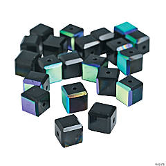 Jet Black Cube AB Cut Crystal Beads - 8mm