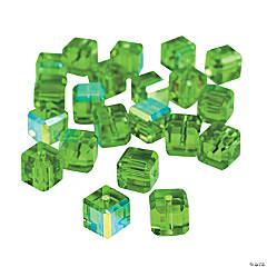 Emerald Cube AB Cut Crystal Beads - 8mm