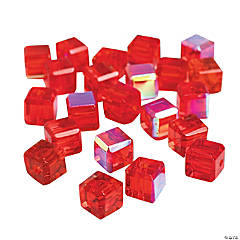 Ruby Cube AB Cut Crystal Beads - 8mm