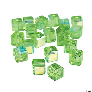 Peridot Cube AB Cut Crystal Beads - 8mm