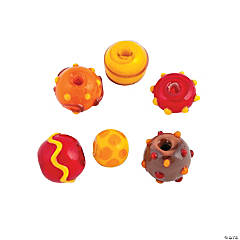 Fall Lampwork Round Beads - 9mm-12mm