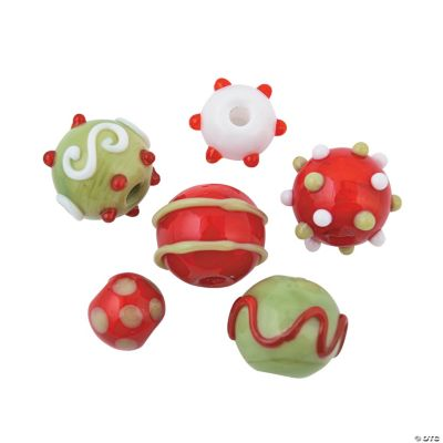 Christmas Lampwork Round Beads - 8mm-15mm