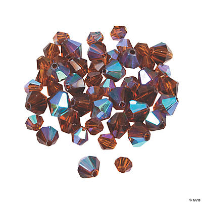 Chocolate Brown Aurora Borealis Crystal Bicone Beads - 4mm-6mm