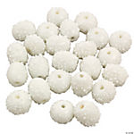 White Snowball Lampwork Beads - 12mm