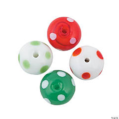 Polka Dot Lampwork Beads - 12mm