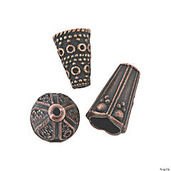 Copper-Tone End Cap Beads - 8mm-12mm
