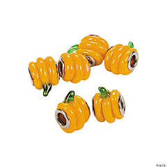 Pumpkin Large Hole Lampwork Beads - 13mm