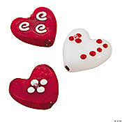 Red & White Heart Lampwork Pendants - 20mm