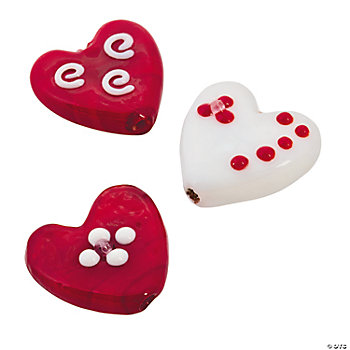 Red & White Lampwork Heart Pendants - 20mm