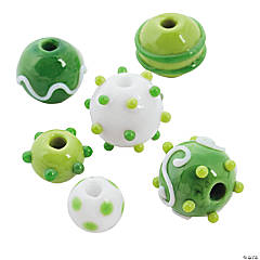 St. Patrick's Day Lampwork Round Beads - 10mm-17mm