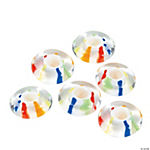 Bright Striped Large Hole Disk Beads - 16mm