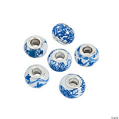 Blue Flower Large Hole Beads - 13mm