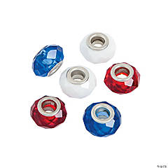 Red, White & Blue Faceted Large Hole Beads - 15mm