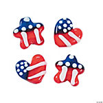 Red, White & Blue Heart & Star Lampwork Beads - 15mm - 17mm