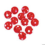 Red Polka Dot Lampwork Beads - 10mm