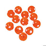 Orange Polka Dot Lampwork Beads - 10mm