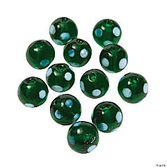 Green Polka Dot Lampwork Beads - 10mm