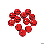 Red Striped Round Lampwork Beads - 10mm