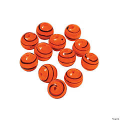 Orange Striped Round Lampwork Beads - 10mm