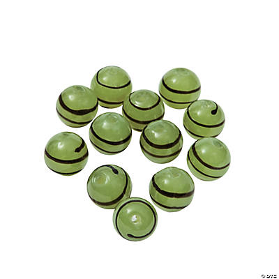 Green Striped Round Lampwork Beads - 10mm