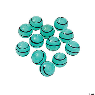 Teal Striped Round Lampwork Beads - 10mm