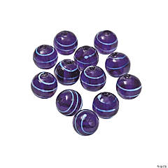 Purple Striped Round Lampwork Beads - 10mm