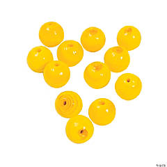 Yellow Round Lampwork Beads - 11mm