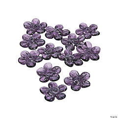 Purple Flower Lampwork Beads - 16mm