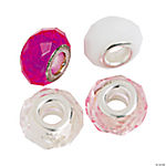 Pink & Clear Faceted Large Hole Beads - 15mm