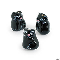 Black Cat Beads - 15mm x 17mm