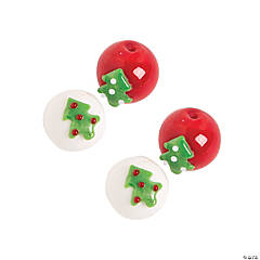 Christmas Tree Round Lampwork Beads -  10mm x 15mm