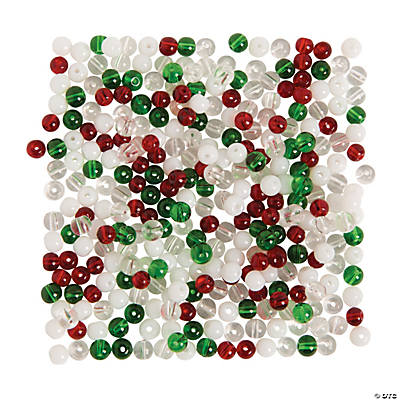 Green, Red & Clear Round Beads - 4mm