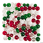Green, Red & Clear Round Beads - 8mm