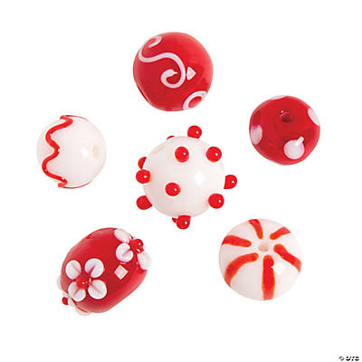 Red & White Lampwork Round Beads - 10mm x 15mm