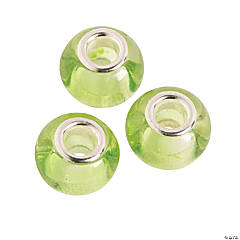 Peridot Large Hole Beads - 14mm