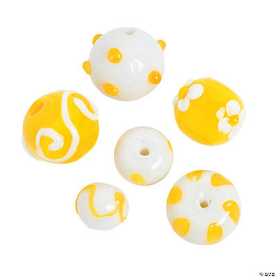 Yellow & White Lampwork Round Beads - 8mm - 15mm