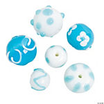 Teal & White Lampwork Beads - 10mm - 15mm