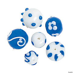 Blue & White Lampwork Round Beads - 8mm - 15mm