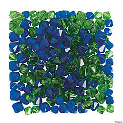 Green & Navy Crystal Bead Assortment - 6mm - 8mm