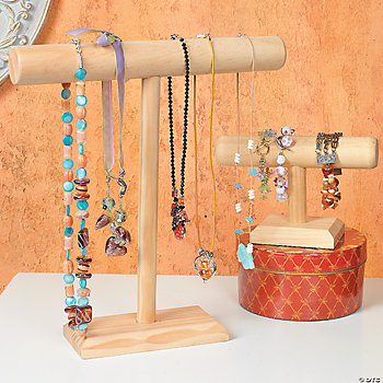 Wood Necklace & Bracelet Display Stands