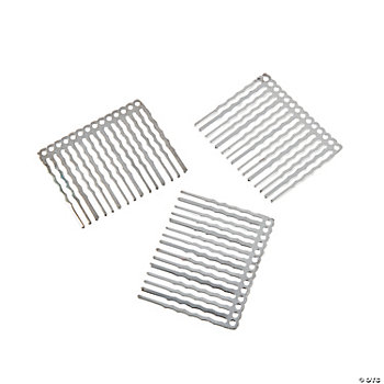Silvertone Metal Beadable Hair Combs