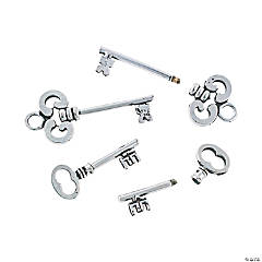 Silvertone Beadable Skeleton Key Set - 1 1/2