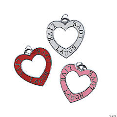 Heart Word Enamel Charms