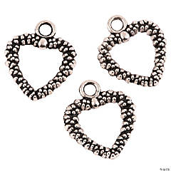 Dark Silvertone-Finish Heart Charms