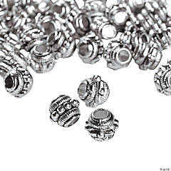 Silvertone Dotted Barrel Beads - 7mm