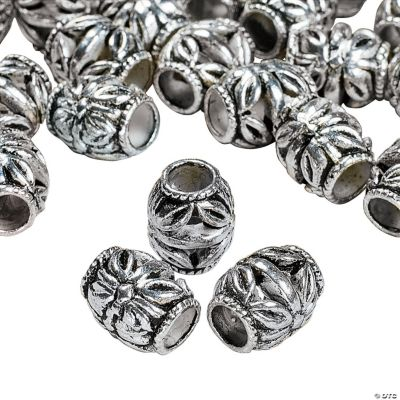 Silvertone Metal Floral Barrel Beads - 8mm x 10mm