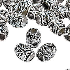 Silvertone Metal Floral Barrel Beads - 8mm x 10mm